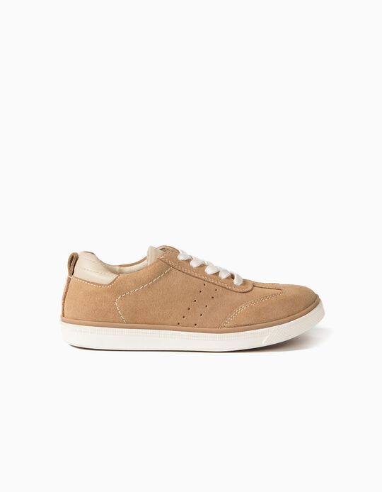 Suede Trainers for Kids, Camel