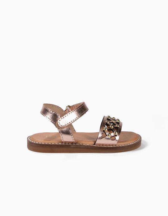 Sandálias de Pele Perfuradas para Bebé Menina com Tachas, Bronze