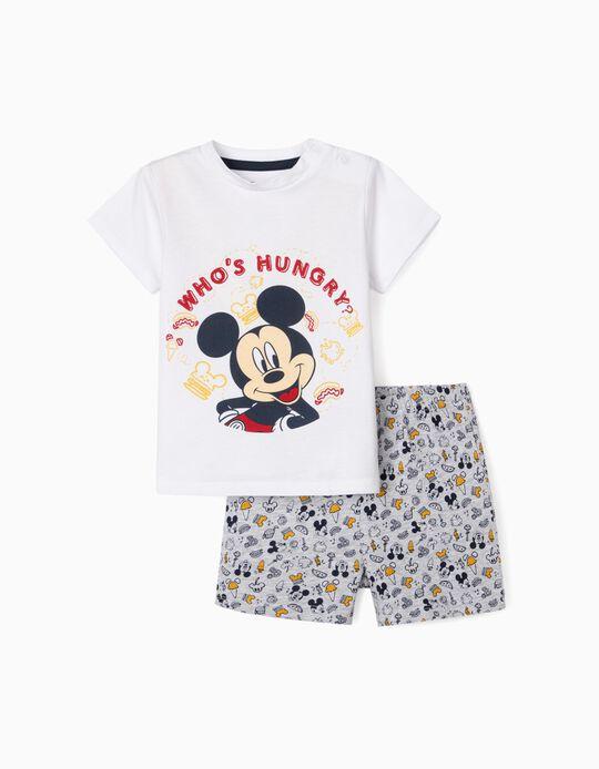 Pyjamas for Baby Boys, 'Hungry Mickey', White/Grey