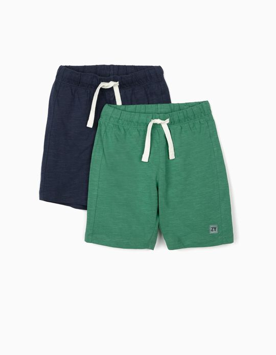 2 Pairs of Shorts for Boys, Green/Dark Blue