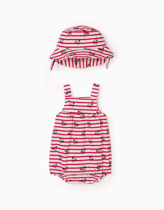 Jumpsuit & Hat for Newborn Baby Boys, 'Disney', Red/White