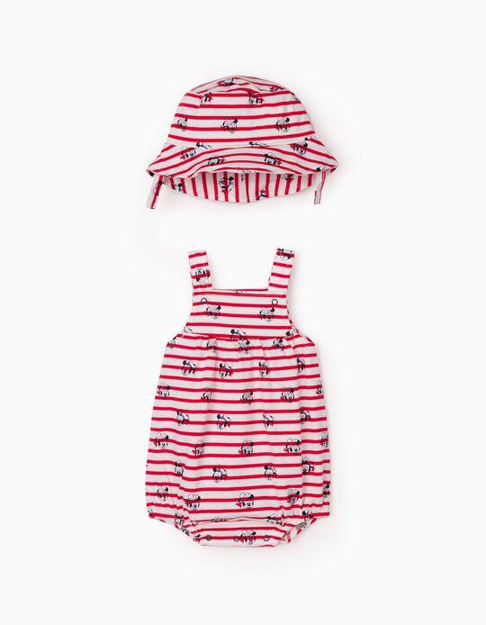 Combinaison et chapeau nouveau-né 'Disney', rouge/blanc