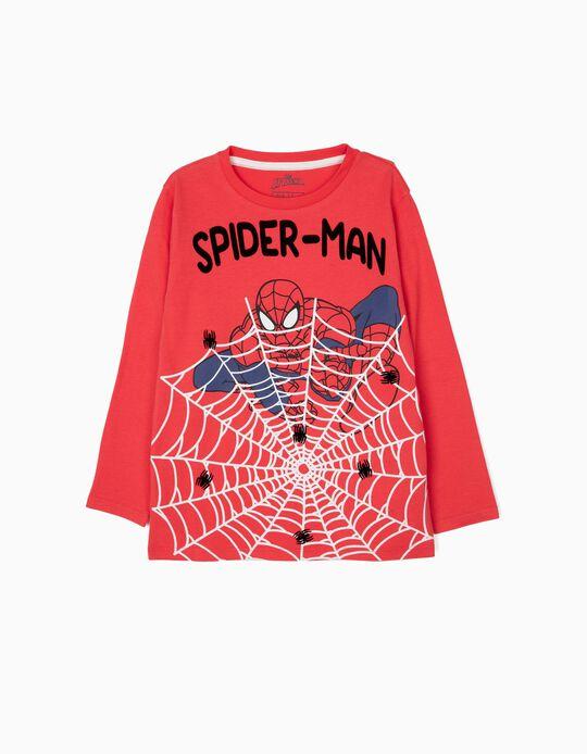 T-shirt Manga Comprida para Menino 'Spider-Man', Vermelha