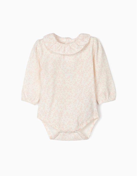 Bodysuit for Newborn Baby Girls 'Flowers' White/Pink
