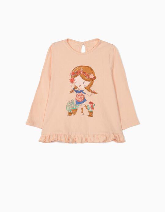 T-shirt Manga Comprida para Bebé Menina 'Flower Girl', Rosa