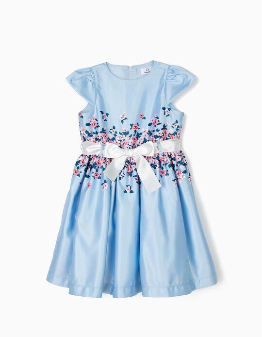 Vestido Acetinado para Menina 'Flores', Azul