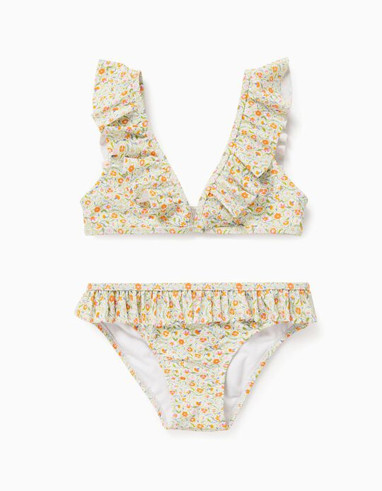 Floral Bikini for Girls, 'Anti-UV 80', white