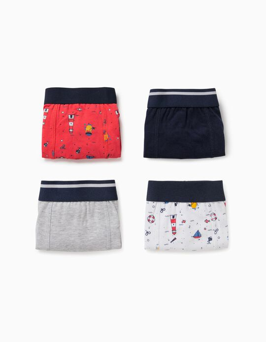 4 Boxer Shorts for Boys, 'Sailor', Multicoloured