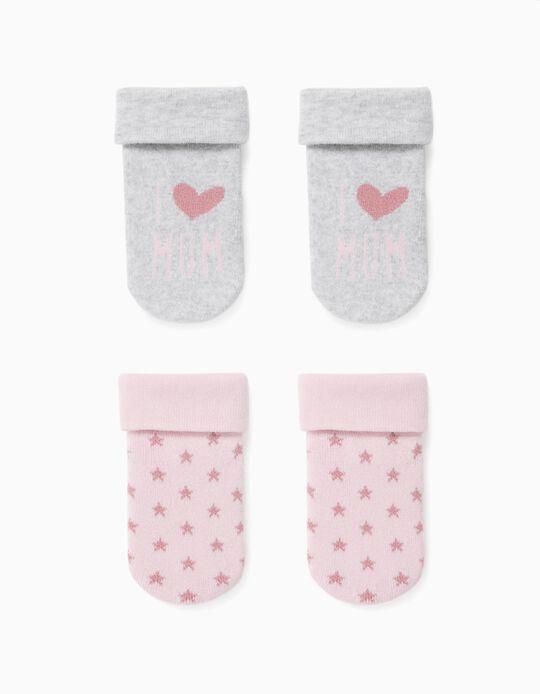 2 Pairs of Socks for Baby Girls, 'Mum', Grey/Pink
