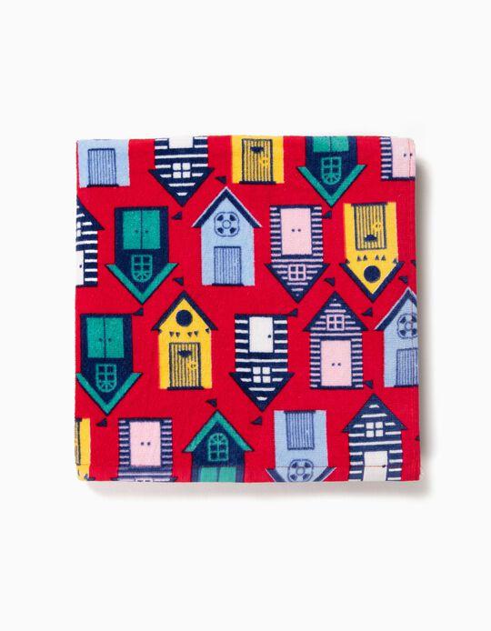 Toalha de Praia para Menino 'Houses', Vermelho