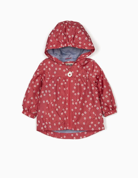Hooded Parka for Baby Girls, 'Flowers', Dark Pink