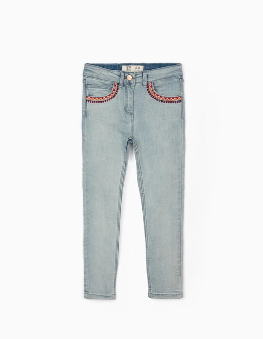 Embroidered Denim Trousers for Girls, Light Blue