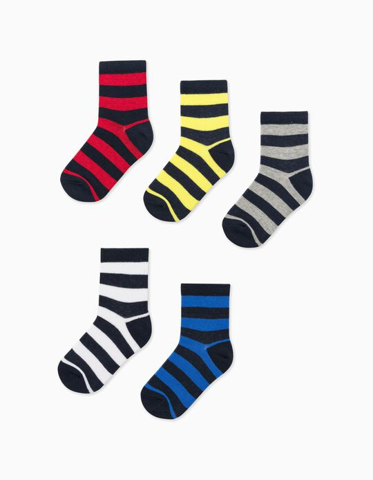 5 Pairs of Socks for Boys 'Stripes', Multicoloured