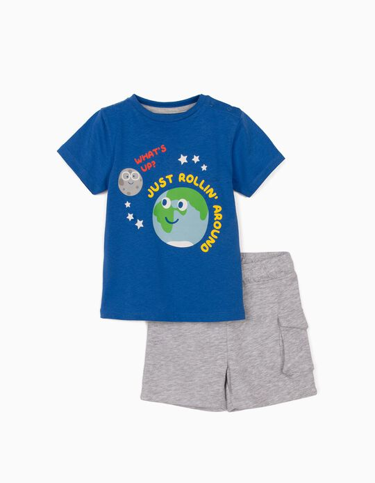 T-shirt et short bébé garçon 'Just Rollin' Around', bleu/gris
