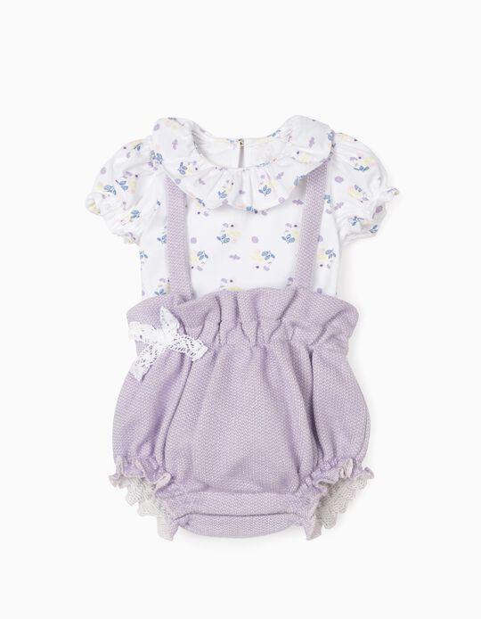 Set for Newborn Baby Girls, Purple/White