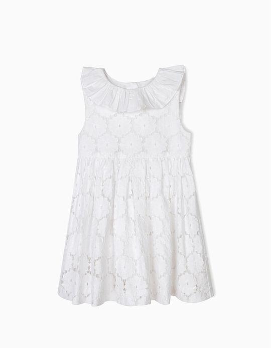 Vestido de Renda para Bebé Menina com Tapa-Fraldas, Branco