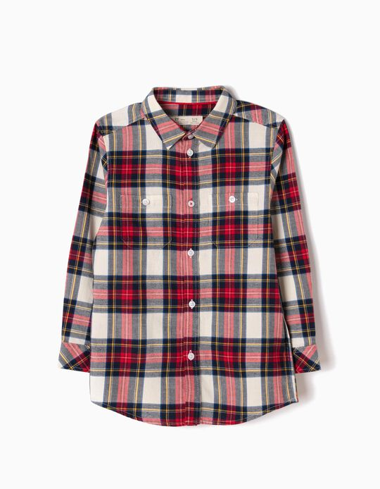 Camisa Niño Franela Ajedrez Rojo