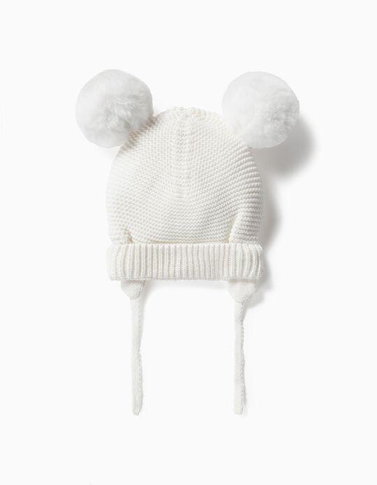 Gorro con Pompones para Bebé, Blanco