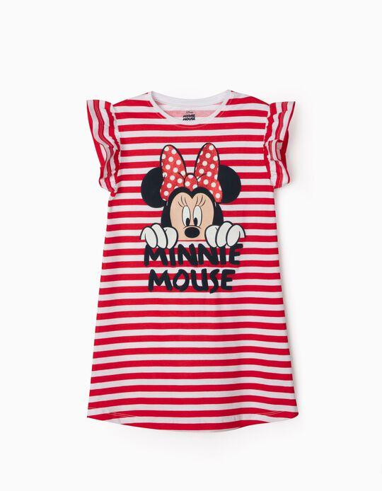 Vestido a Rayas para Niña 'Minnie Mouse', Rojo/Blanco