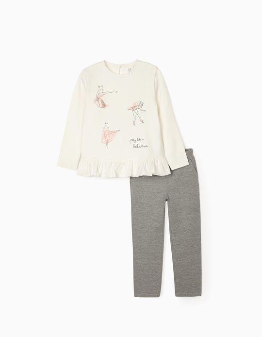 Set for Girls 'Ballerina', White/Grey