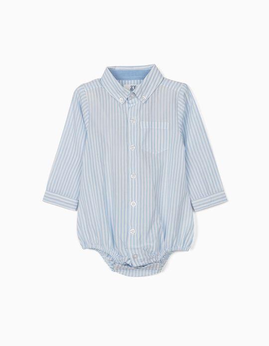 Body-Camisa Riscas para Recém-Nascido, Azul/Branco