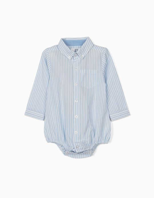 Striped Shirt-Bodysuit for Newborn Baby Boys, Blue/White