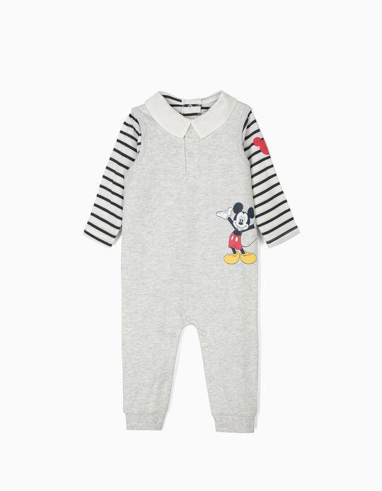 Macacão e Body para Recém-Nascido 'Mickey', Cinza e Azul