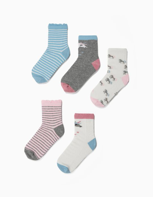 5 paires de chaussettes fille 'Rayures et licornes', multicolore