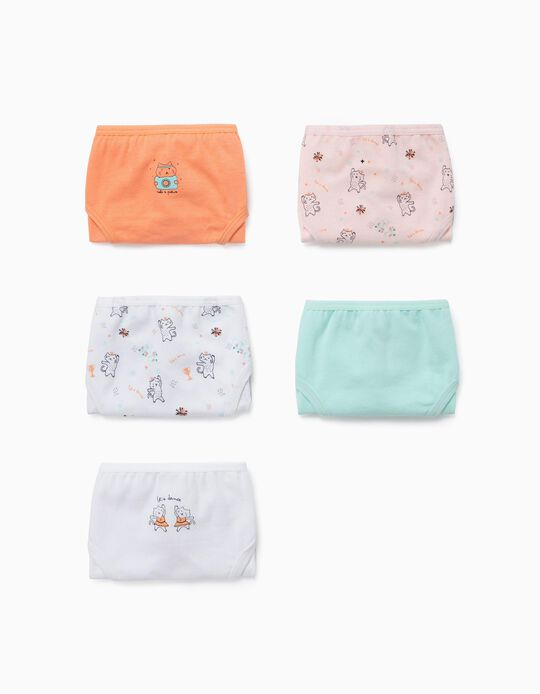 5 Pairs of Briefs for Girls, 'Cats', Multicoloured