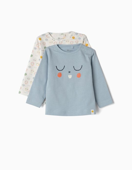 2 T-shirts Manga Comprida para Recém-Nascido 'Sleep', Azul e Branco
