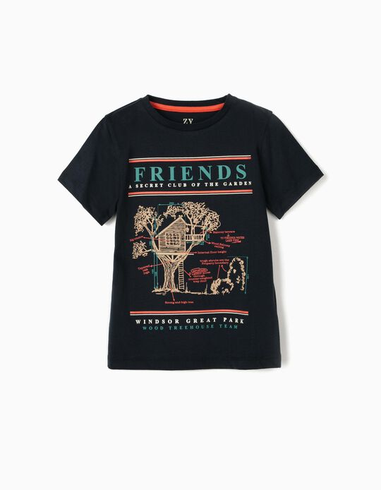 T-shirt para Menino 'Friends', Azul Escuro
