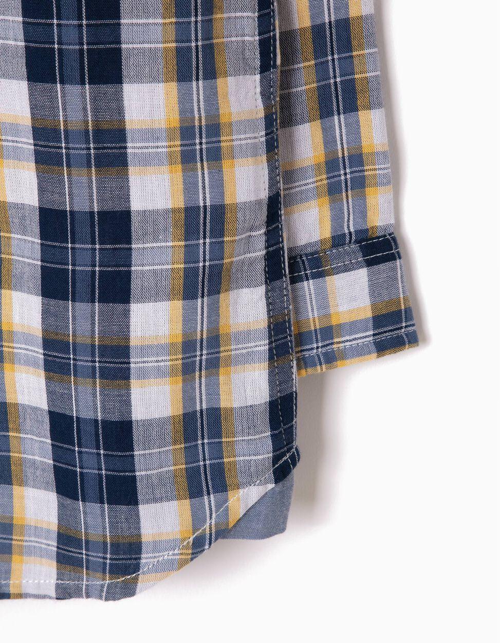 Camisa Ajedrez Azul y Amarillo