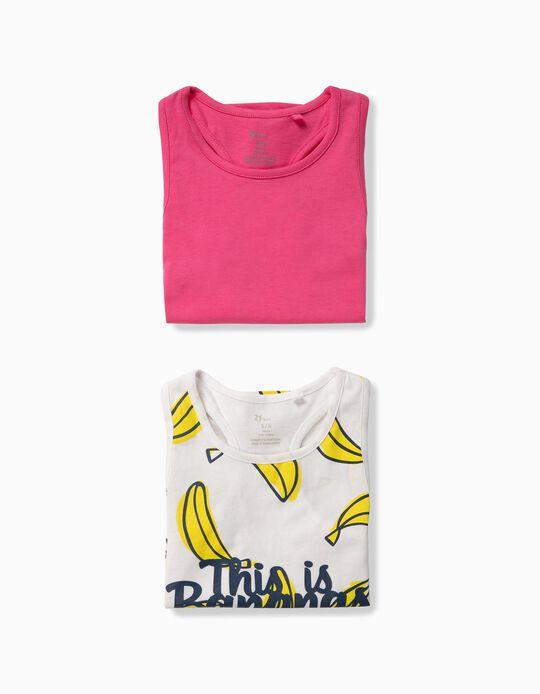 2 Tops para Niña 'Bananas', Blanco y Rosa
