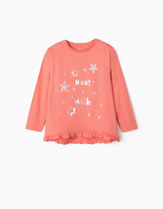Long Sleeve Top for Girls, 'Make a Wish', Pink