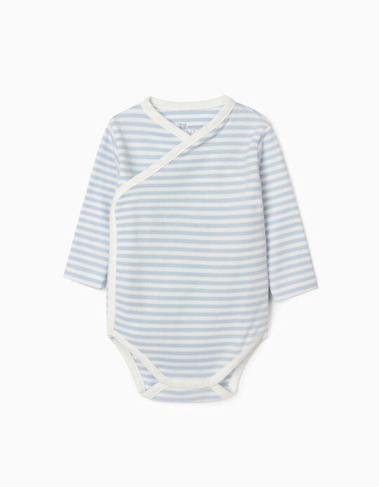 Long Sleeve Bodysuit for Newborn Baby Boys, 'WH', Blue/White