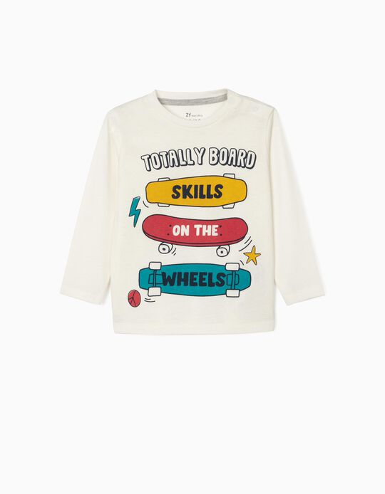 T-shirt Manga Comprida para Bebé Menino 'Board', Branco