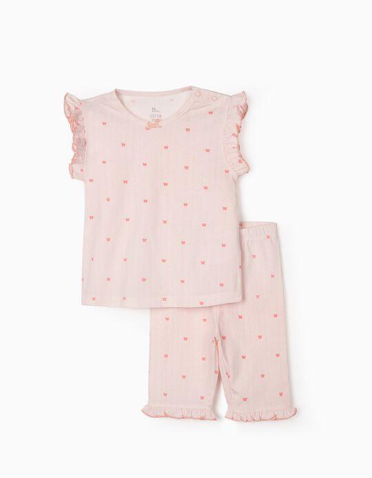 Pyjamas for Baby Girls, 'Stripes & Butterflies', Pink