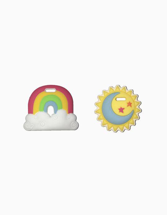2 Mordedores De Silicone Rainbow & Sun Silli Chews