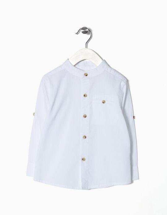 Camisa com Colarinho Mandarim para Bebé Menino, Branco
