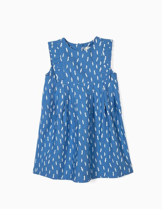 DRESS SS POPLIN AOP, BLUE47, 6/7