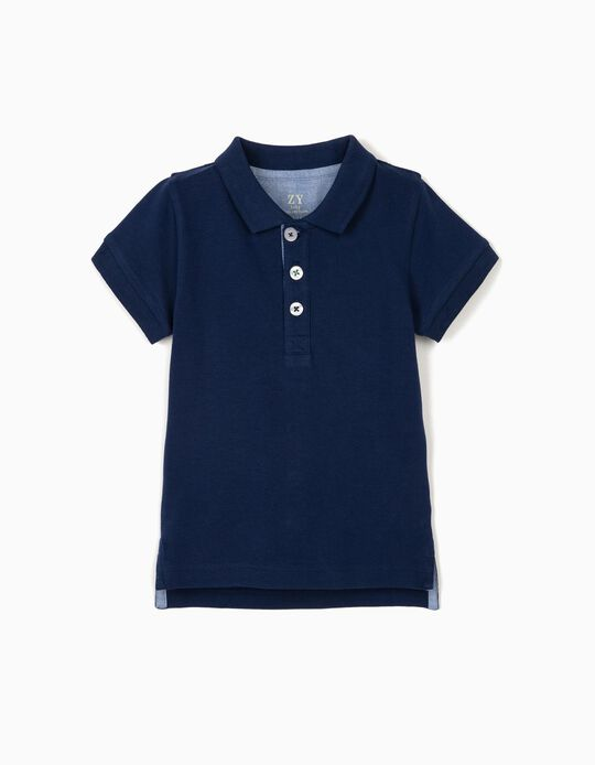 Piqué Knit Polo Shirt for Baby Boys, Blue