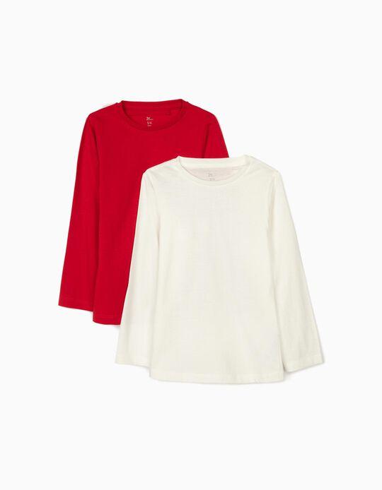2 Camisetas de Manga Larga para Niña, Rojo/Blanco