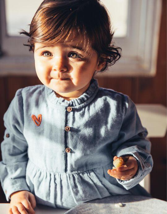 Blusa para Bebé Niña con Bordados, Azul