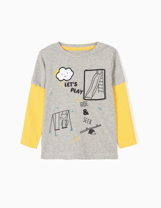 Camiseta de Manga Larga para Bebé Niño 'Hide and Seek', Gris