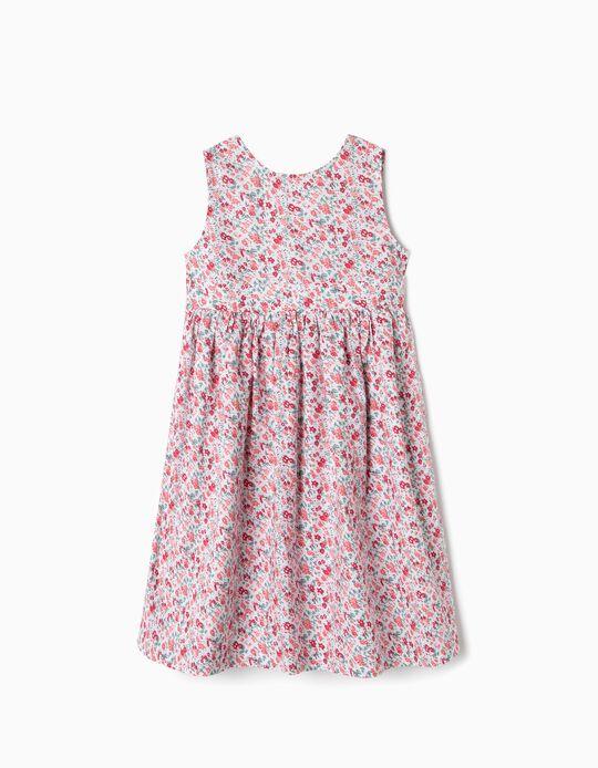 Vestido para menina 'Flores', Branco e Vermelho