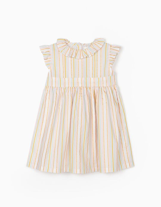Striped Dress for Baby Girls, Multicoloured