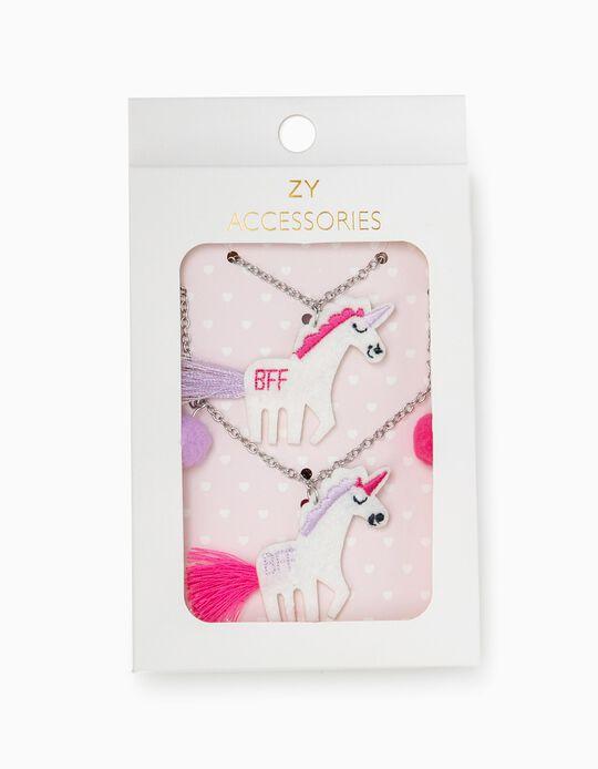 2 Collares para Niña 'Unicorns BFF', Plateado/Rosa
