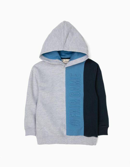Sweatshirt com Capuz para Menino '#FairGame', Cinzento e Azul