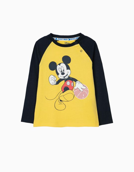 T-shirt de Manga Comprida para Bebé Menino 'Mickey', Amarela e Azul