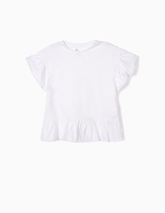 T-shirt para Menina Folhos, Branco
